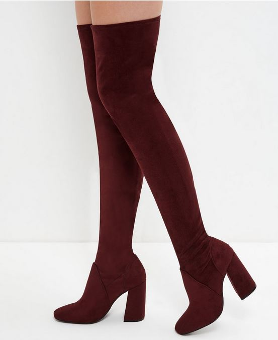 sexy high leg red suede boots