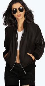 womens black bomber jacket