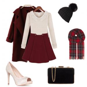 burgundy christmas outfit idea